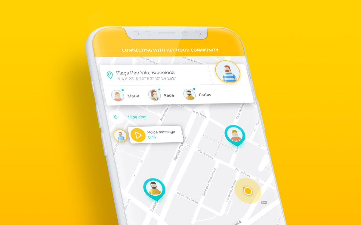 Heyhood — App Design, 3D illustration
